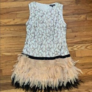 Flapper Style cocktail dress with sequins feathers